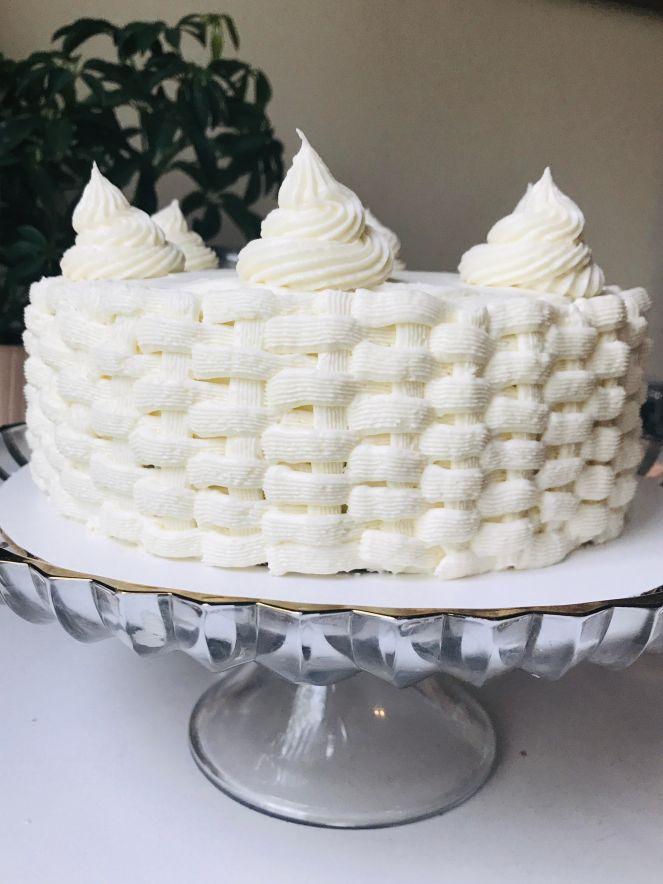 Hummingbird Cake with cream cheese lattice icing